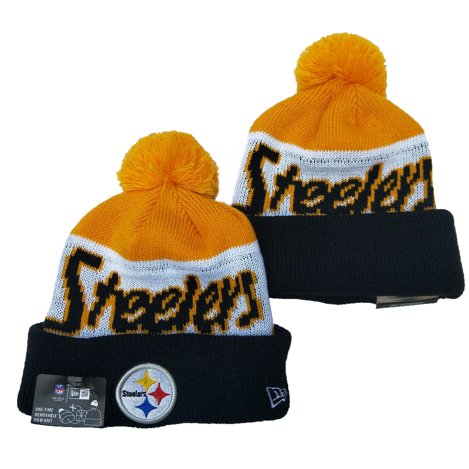 Steelers Team Logo Yellow White Navy Pom Knit Hat YD