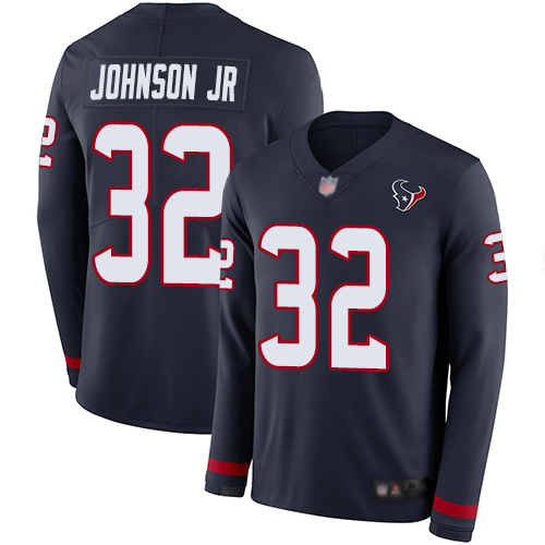 Texans #32 Lonnie Johnson Jr. Navy Blue Team Color Men's Stitched Football Limited Therma Long Sleeve Jersey