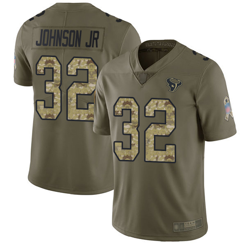 Texans #32 Lonnie Johnson Jr. Olive Camo Men's Stitched Football Limited 2017 Salute To Service Jersey