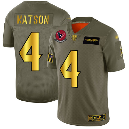 Texans #4 Deshaun Watson Camo Gold Men's Stitched Football Limited 2019 Salute To Service Jersey