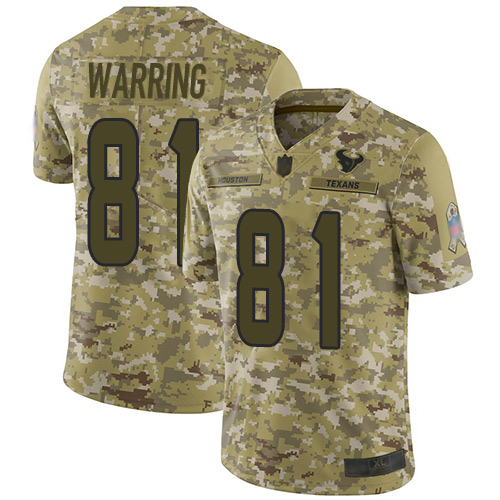 Texans #81 Kahale Warring Camo Men's Stitched Football Limited 2018 Salute To Service Jersey