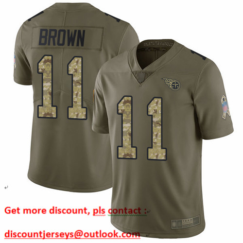 Titans #11 A.J. Brown Olive Camo Men's Stitched Football Limited 2017 Salute To Service Jersey