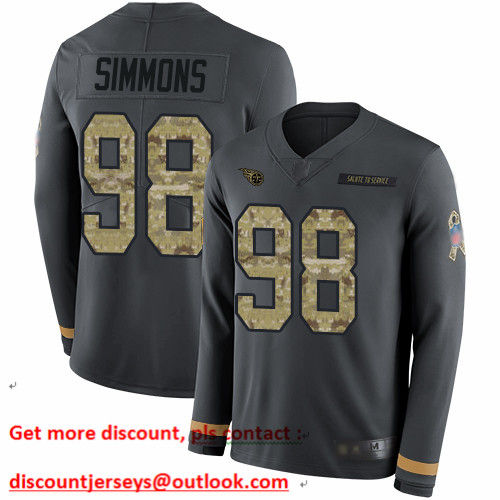 Titans #98 Jeffery Simmons Anthracite Salute to Service Men's Stitched Football Limited Therma Long Sleeve Jersey