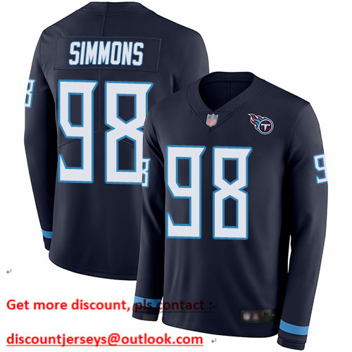 Titans #98 Jeffery Simmons Navy Blue Team Color Men's Stitched Football Limited Therma Long Sleeve Jersey