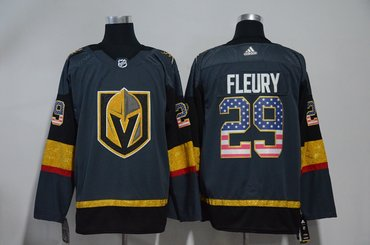 c4be6775c Vegas Golden Knights 29 Marc-Andre Fleury Gray USA Flag Adidas Jersey