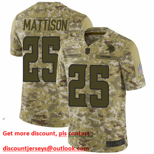 Vikings #25 Alexander Mattison Camo Men's Stitched Football Limited 2018 Salute To Service Jersey