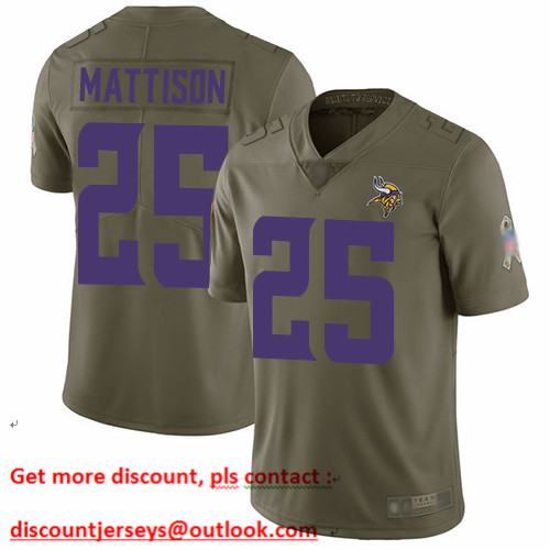 Vikings #25 Alexander Mattison Olive Men's Stitched Football Limited 2017 Salute to Service Jersey