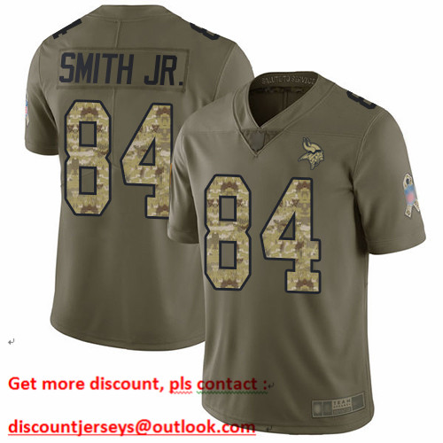 Vikings #84 Irv Smith Jr. Olive Camo Men's Stitched Football Limited 2017 Salute To Service Jersey