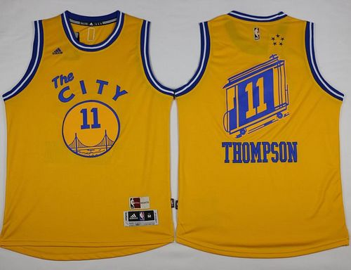 online store 80e92 d6a89 Warriors #11 Klay Thompson Gold Throwback The City NBA stitched
