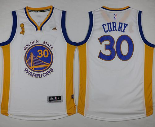 d192a771324 Warriors #30 Stephen Curry White Trophy Banner Champions Stitched NBA Jersey