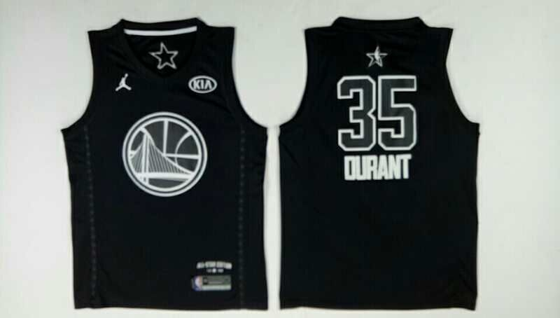 338448d97 Warriors 35 Kevin Durant Black 2018 All-Star Game Jordan Brand Authentic  Jersey