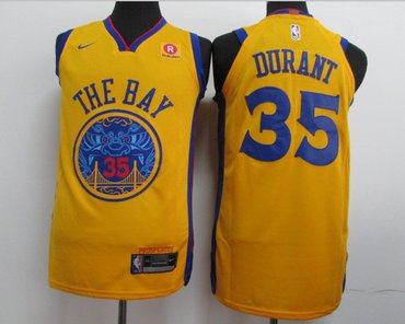 online store 8b682 46806 Warriors 35 Kevin Durant Gold City Edition Authentic Jersey