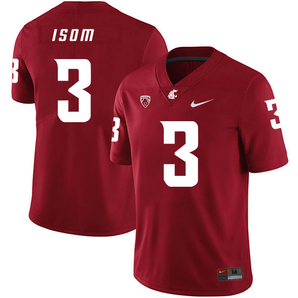 Washington State Cougars 3 Daniel Isom Red College Football Jersey