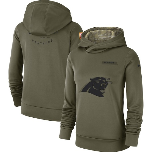 Women's Carolina Panthers Nike Olive Salute to Service Sideline Therma Performance Pullover Hoodie