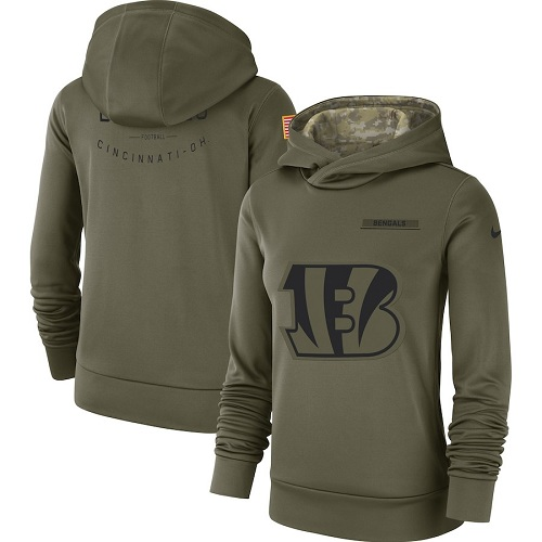 Women's Cincinnati Bengals Nike Olive Salute to Service Sideline Therma Performance Pullover Hoodie