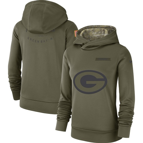 Women's Green Bay Packers Nike Olive Salute to Service Sideline Therma Performance Pullover Hoodie