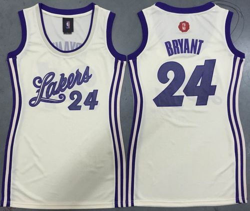 Women s Lakers  24 Kobe Bryant Cream 2015-2016 Christmas Day Dress Stitched NBA  Jersey 81d535afe