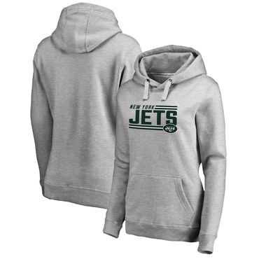4471101bf Women s New York Jets NFL Pro Line By Fanatics Branded Ash Iconic  Collection On Side Stripe Pullover Hoodie