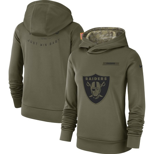 Women's Oakland Raiders Nike Olive Salute to Service Sideline Therma Performance Pullover Hoodie