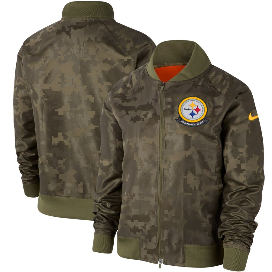 Women's Pittsburgh Steelers Nike Olive 2019 Salute To Service Full Zip Bomber Jacket