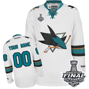 64b66e4ea Women s Reebok San Jose Sharks Customized Authentic White Away 2016 Stanley  Cup Final Bound NHL Jersey