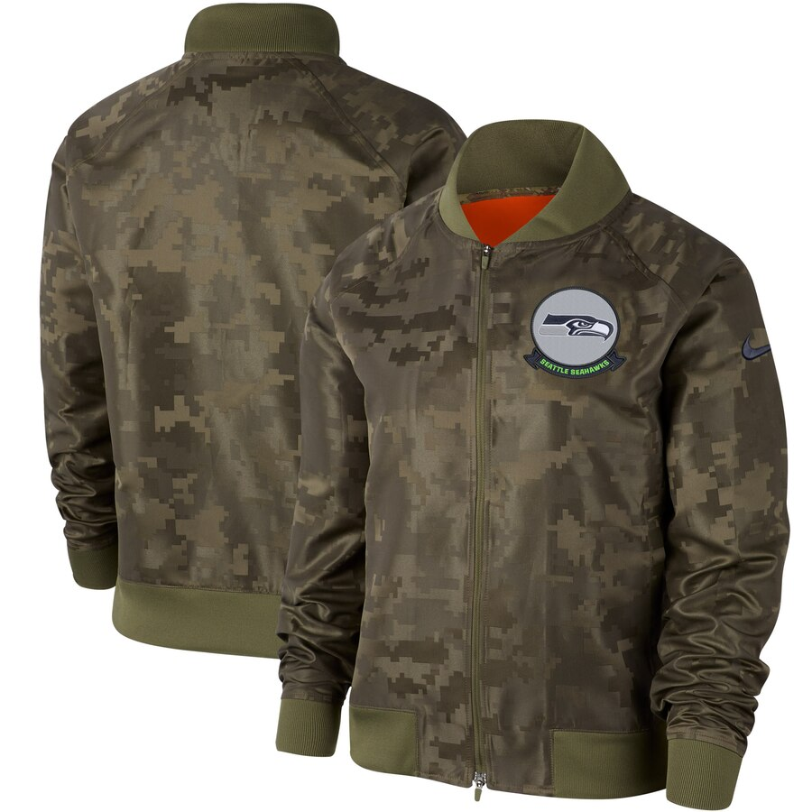 Women's Seattle Seahawks Nike Olive 2019 Salute To Service Full Zip Bomber Jacket
