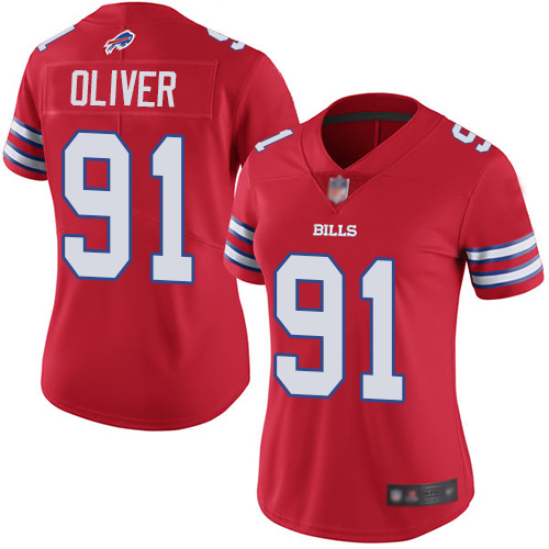 Women Nike Bills 91 Ed Oliver Red Women Color Rush Limited Jersey