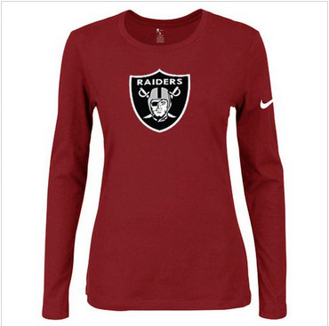 Women Nike Oakland Raiders Of The City Long Sleeve Tri-Blend NFL T-Shirt Red