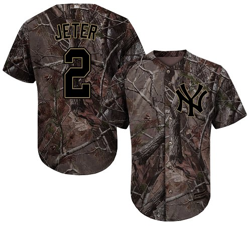d6197ea13 Yankees  2 Derek Jeter Camo Realtree Collection Cool Base Stitched Baseball  Jersey