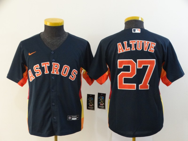 Youth Astros 27 Jose Altuve Navy Youth 2020 Nike Cool Base Jersey