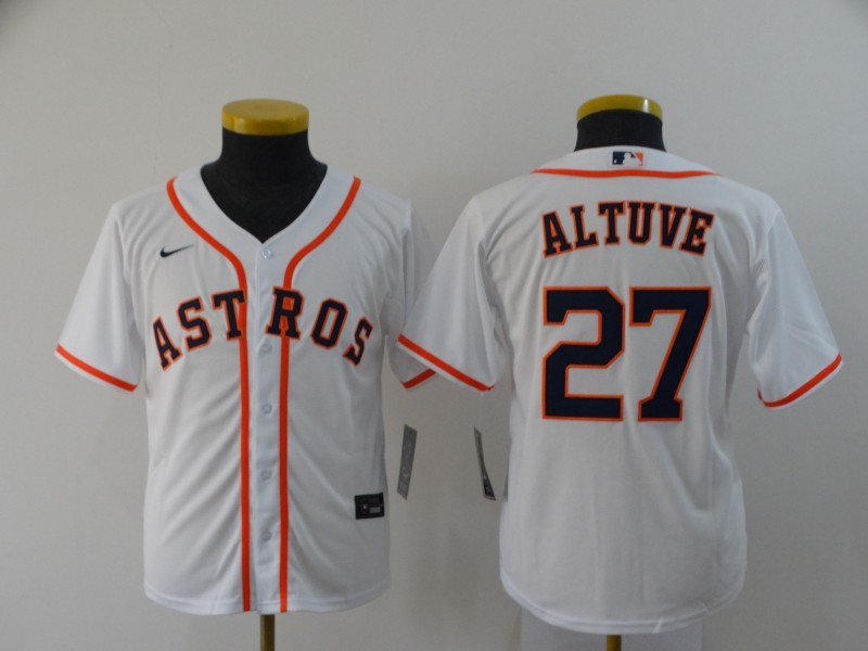 Youth Astros 27 Jose Altuve White Youth 2020 Nike Cool Base Jersey