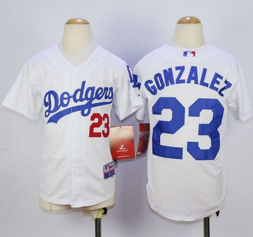 62631779c Youth Los Angeles Dodgers  23 Adrian Gonzalez White Cool Base Stitched MLB  Jersey