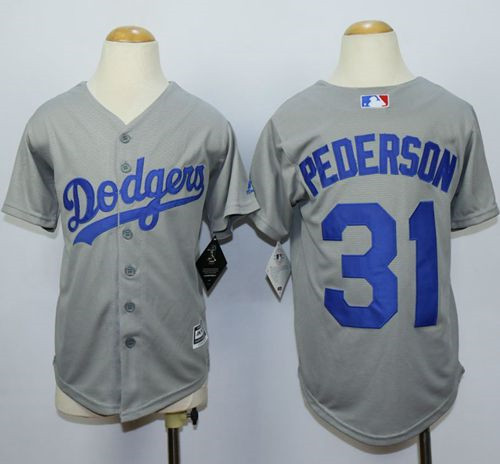 4742128ca Youth Los Angeles Dodgers  31 Joc Pederson Grey Cool Base Stitched MLB  Jersey