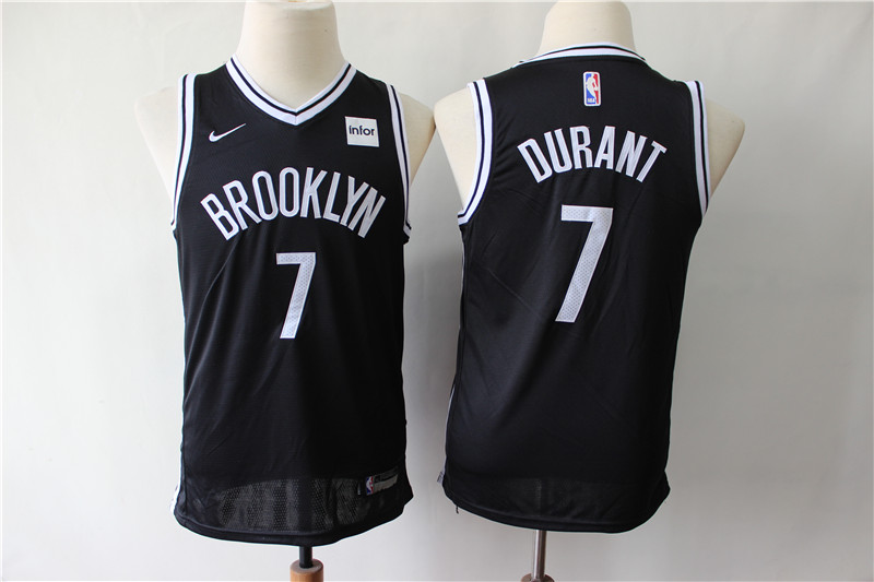 Youth Nets 7 Kevin Durant Black Youth Nike Swingman Jersey