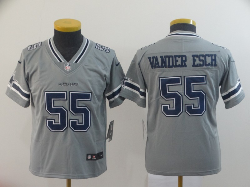 Youth Nike Cowboys 55 Leighton Vander Esch Gray Youth Inverted Legend Limited Jersey
