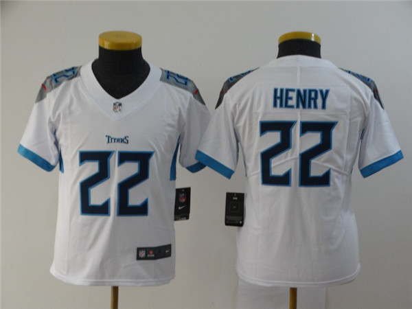 Youth Nike Titans 22 Derrick Henry White Youth New Vapor Untouchable Player Limited Jersey