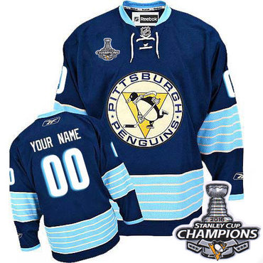Youth Reebok Pittsburgh Penguins Customized Authentic Navy Blue Third  Vintage 2016 Stanley Cup Champions NHL Jersey cec8b1110