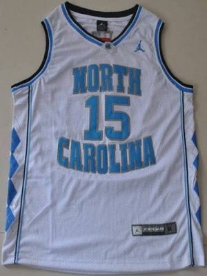 north carolina #15 vince carter white embroidered ncaa jersey