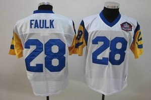 st louis rams 28 marshall faulk white hall of fame patch jerseys